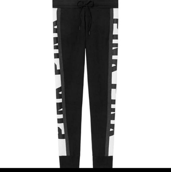 VICTORIA/'S SECRET PINK Snap Track Pant Black White Logo Jogging Gym M